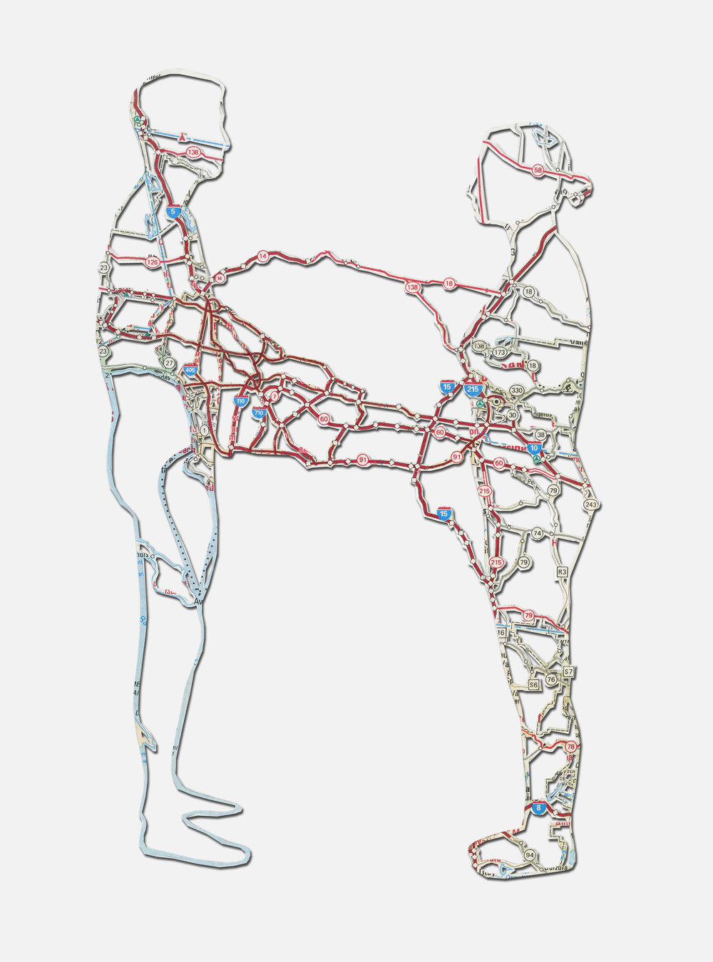 "Untitled (Connections) , 9X6"", Hand-cut road map, 2012"