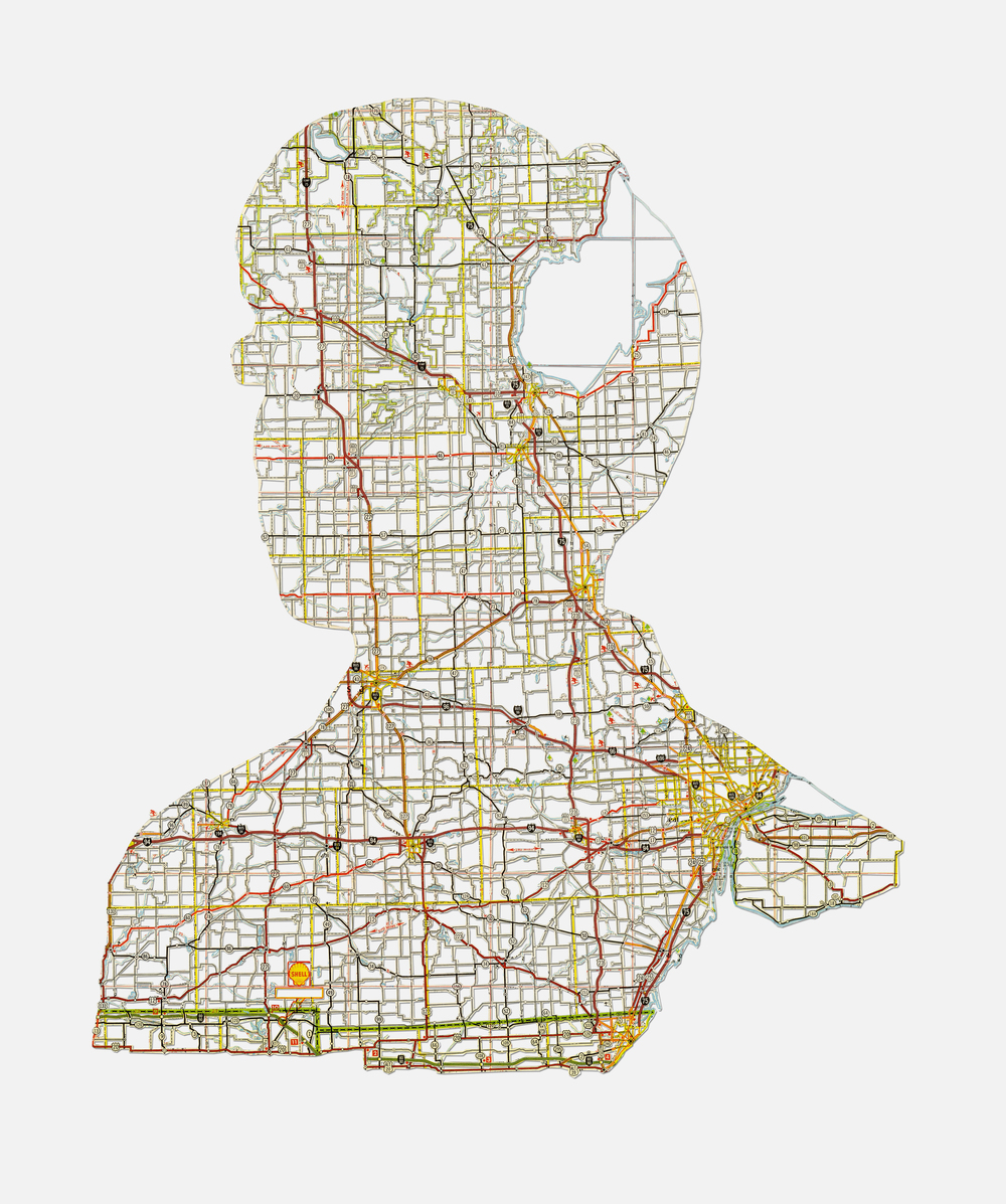 "Tim: Detroit, MI , 20X16"", Hand-cut road map, 2013"