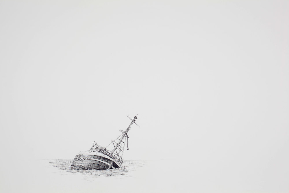 "Scuttling , 30.5""X43.5"", Graphite on paper, 2012"