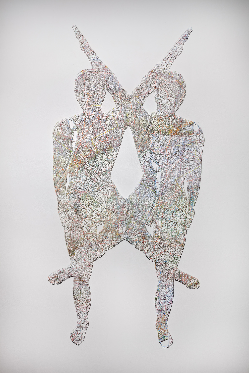 "Untitled (Merged) III , 75X37"", Hand-cut road map, 2015"