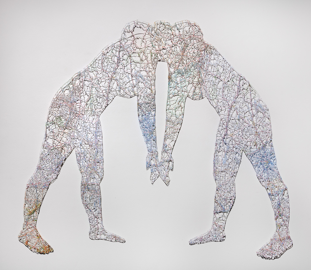 "Untitled (Merged) II , 54X66"", Hand-cut road map, 2014"