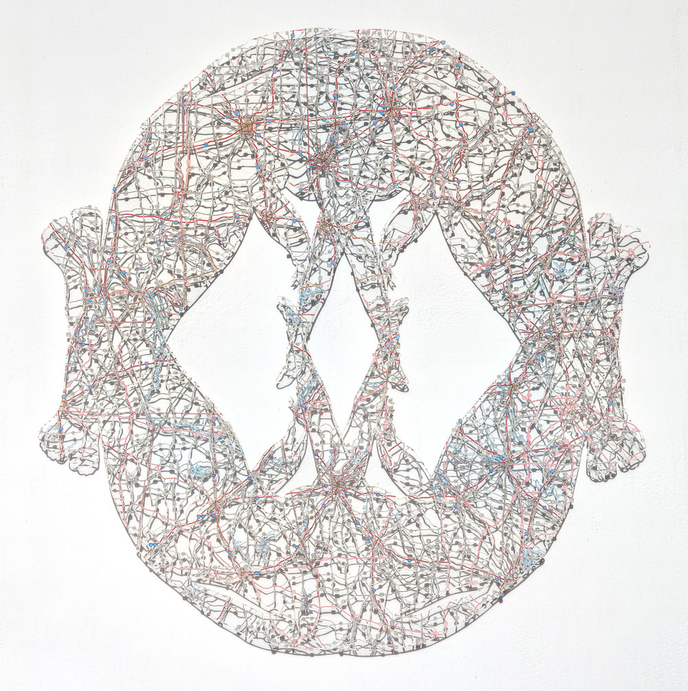 Untitled (Object I), 24x23 in, hand-cut road map, 2017