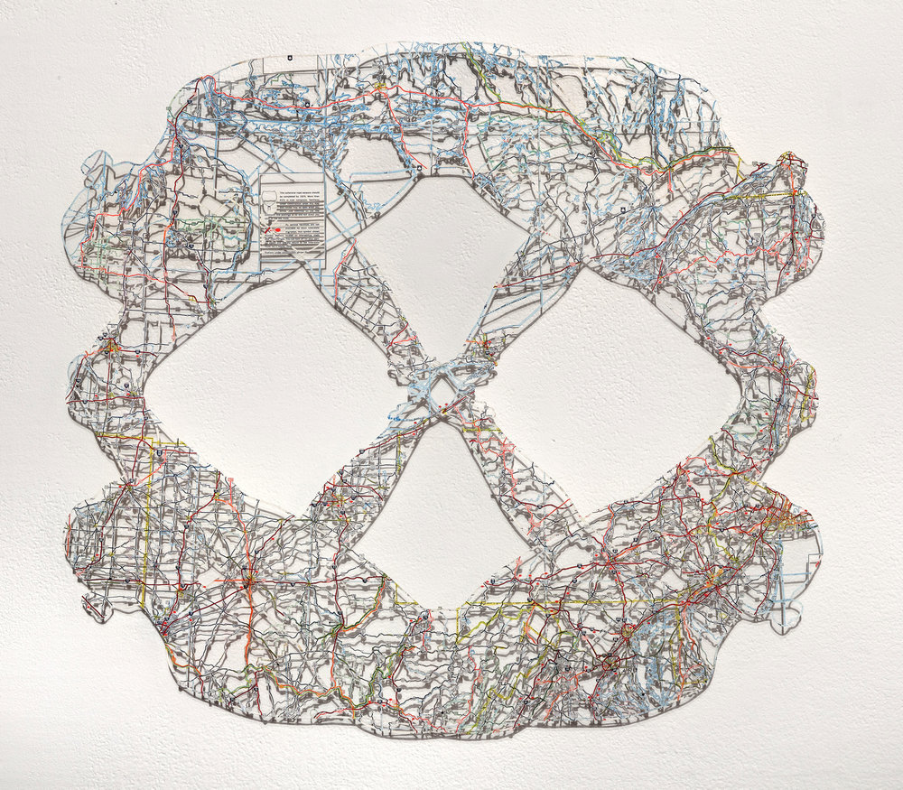 Untitled (Object II),  19x21 in, hand-cut road map, 2017