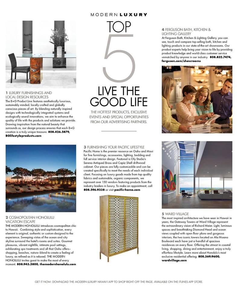 MODERN LUXURY TOP 5 MARCH 2015