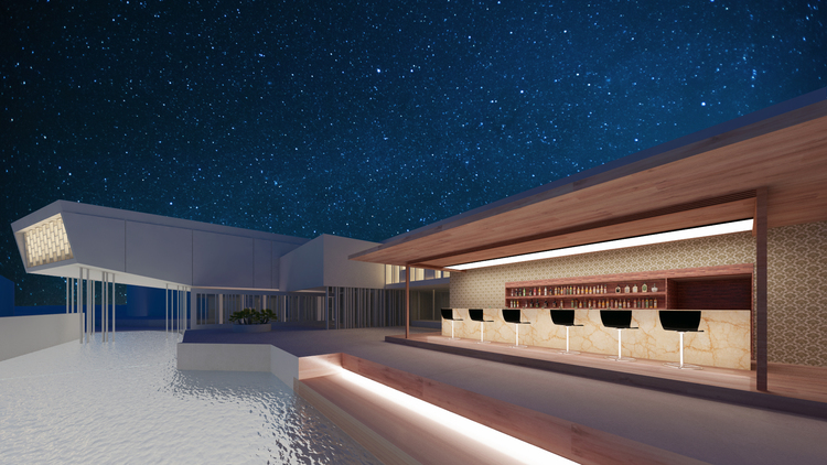 HOTEL BAR DESIGNED TO COMPLEMENT THE SERENITY OF THE POOL AND LIVING SKY
