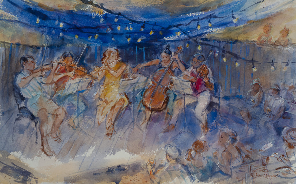 "Cabaret Concert at Al's, 13"" x 20"" Watercolor"