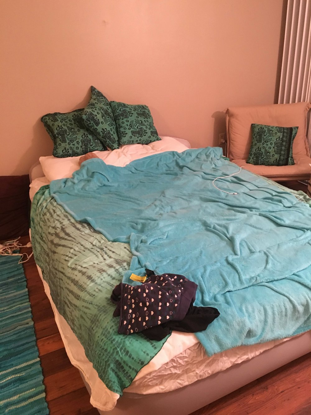 Blanket made from Ombre Tie Dyed Sarongs and Throw Pillows made from Traditional Balinese Batik Print Cotton Sarongs