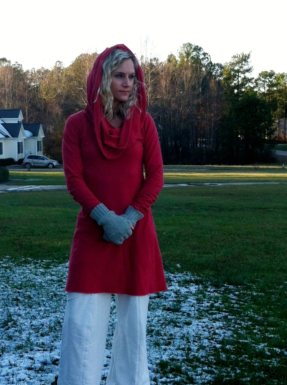 Melissa:  Me wearing my favorite Gaia piece....the peace keeper (super cowl fleece) mini dress/tunic