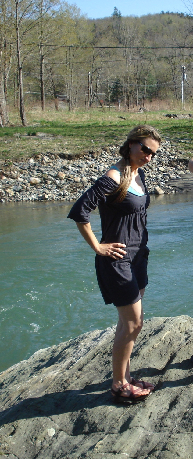 Amanda:  Wearing my favorite dress while hanging out with a friend on the Mad River in Vermont this past May. This was taken at a nudist swimming hole. So, the guy holding the camera... let's just say he's not enjoying wearing any Gaia Conceptions clothing
