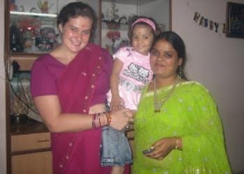 Diwali celebration, Nov 2008 - my first time wearing a sari