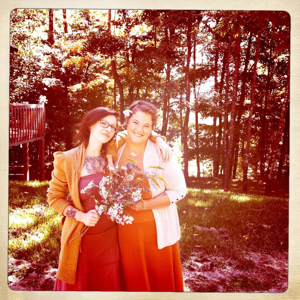 Two best friends wearing GC dresses to my (left) outdoor WV mountain wedding!