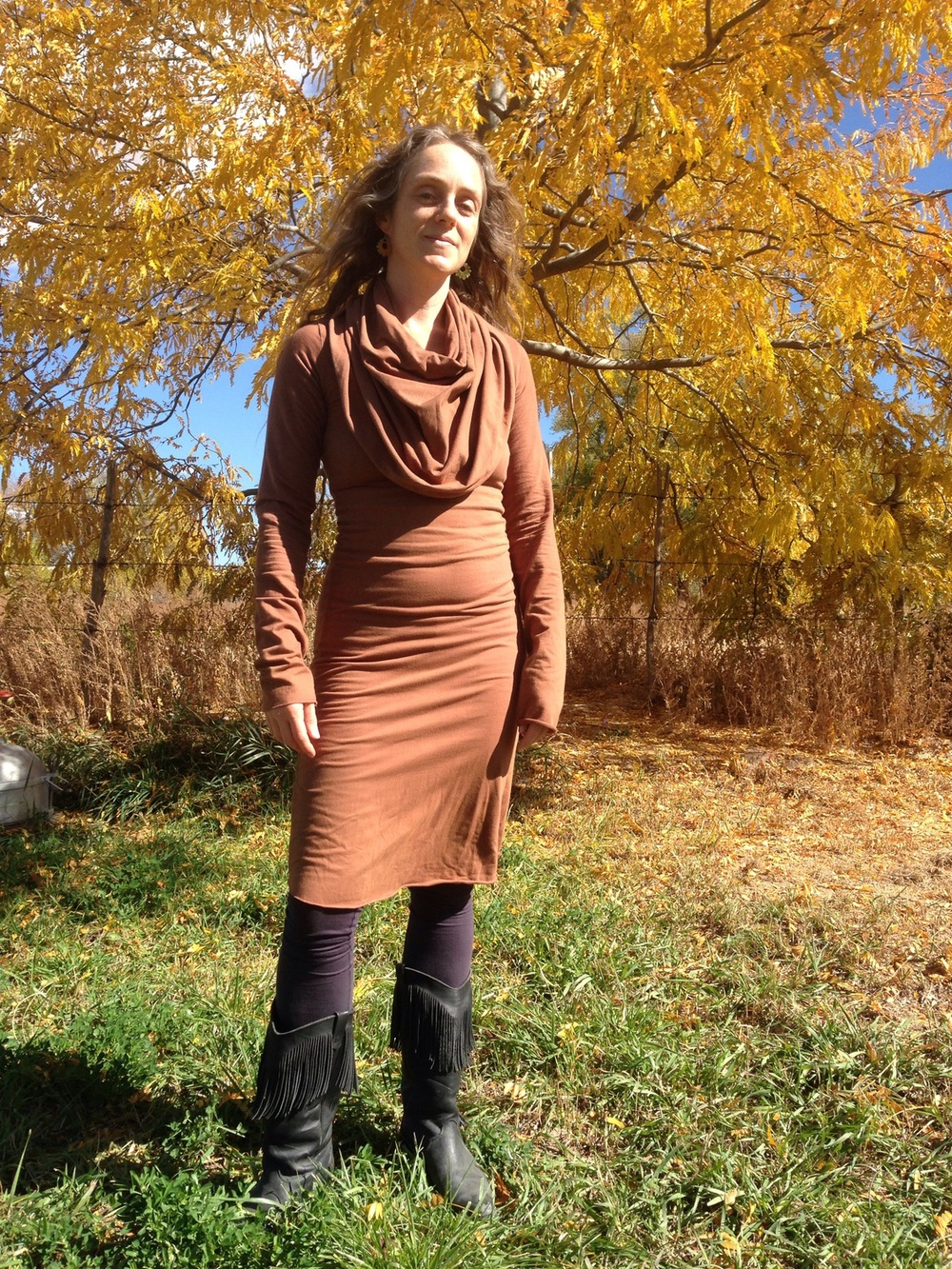 Wearing the super cowl stretchy dress and the love me 2 times leggings. Super comfy and stylish! - Karen L