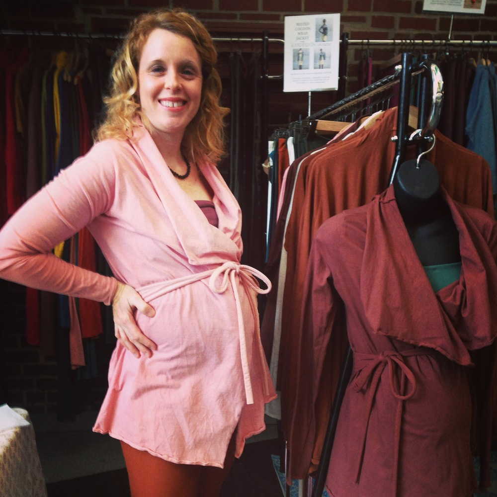 Belted Cocoon Tunic Jacket  made from NC Grown Organic Cotton and dyed Rose, our natural plant dye paired with  Simplicity Cropped Leggings  made from Organic Stretch Cotton and dyed terra-cotta, a low-impact fiber reactive dye