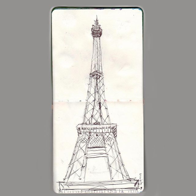 Quick sketch of the lovely Eiffel tour done on site.  #eiffeltower #paris #travelblogger #travelsketch #travel #traveling #travelsketchbook #travelsketcher #drawing #art #vlog #blog #time #timeless #visit  #paintings #art #painting #artist #artwork #drawing #watercolor #paint #sketch #color #instaart #artoftheday #creative #myart #artistsoninstagram