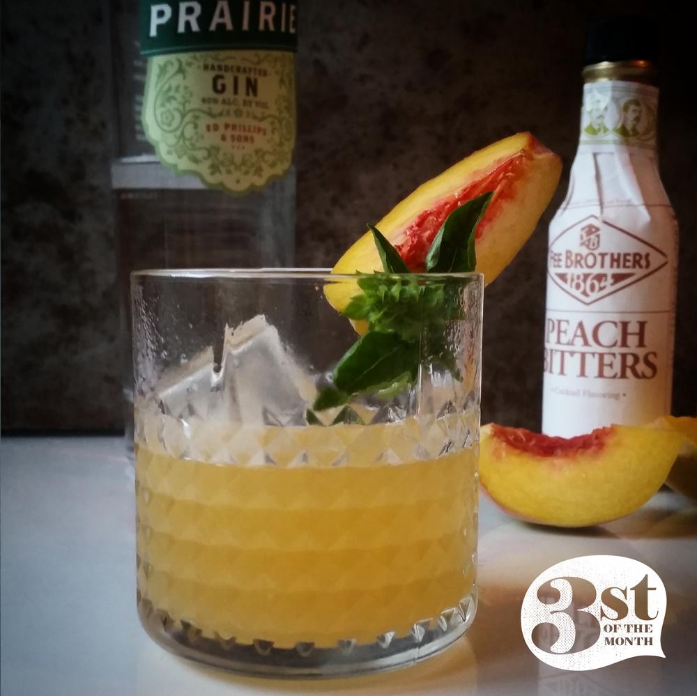 The Prairie Peach cocktail - gin, muddled peaches and basil.