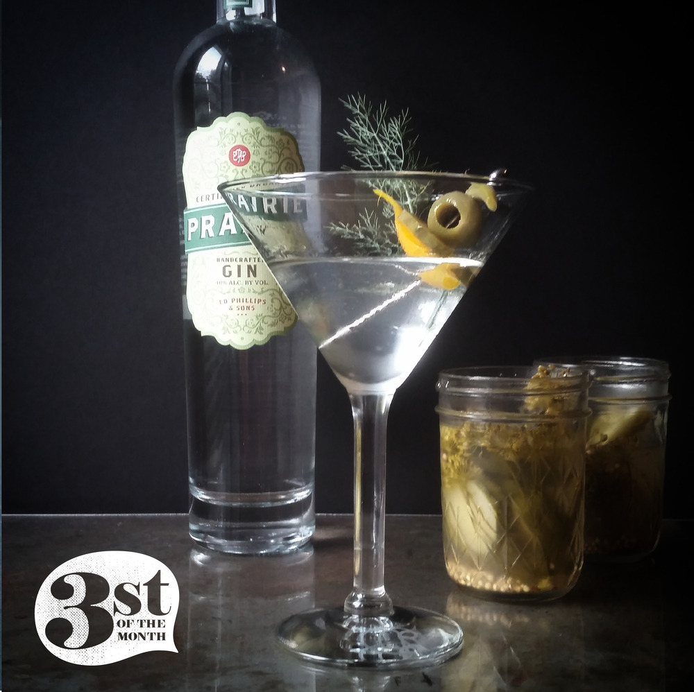 A delicious pickled salad bar of a cocktail from 3st of the Month  -  The Garden Pickle gin martini