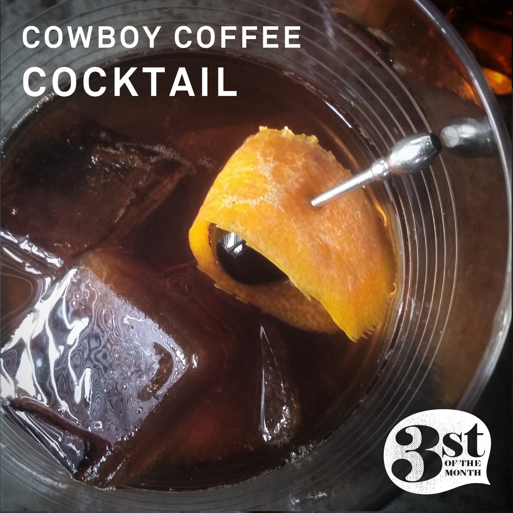 Made with TINCUP Whiskey and black coffee ice cubes, the Cowboy Coffee Cocktail is one to try!