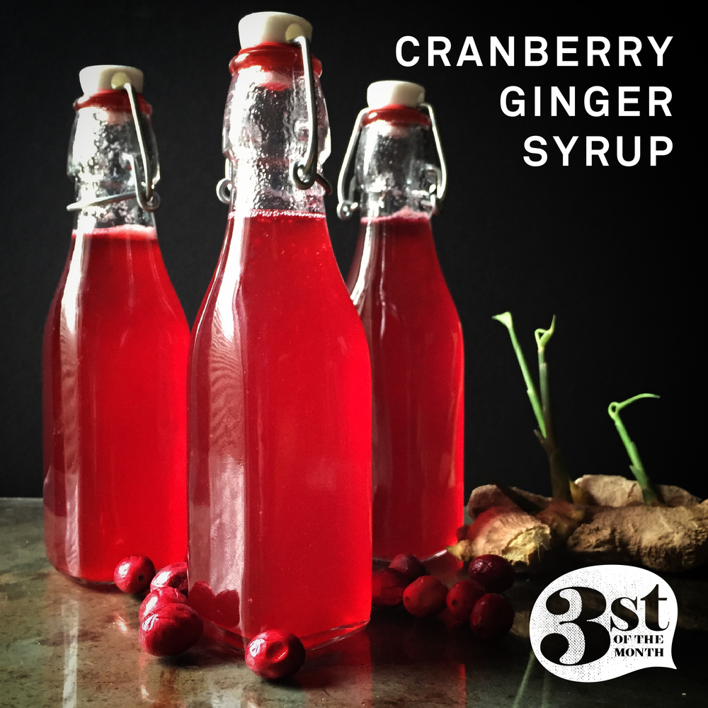 Easy to make Cranberry Ginger Syrup - delicious in cocktails, champagne and more!