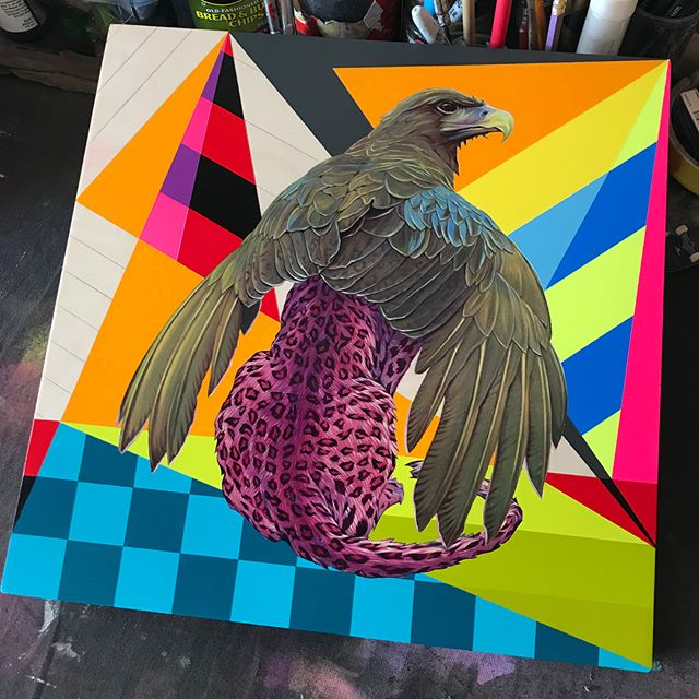 WIP |  More Progress shots of Sunset Griffin, 14 IN. X 14 IN. X 1.25 IN., Oil and Aerosol on Wood Panel. As part my collaborative project @kaleidoskullart with @montymontgomery . . . TOMORROW NIGHT @sparksgallery 6-9p @sandiego_ca  @gaslampquarter . . . @montanacans_usa @gamblincolors #tonyphilippou #montymontgomery #sparksgallerysd #painting #wip #progress #process #aerosol #montanacans #gamblincolors #geometric #design #griffin #fantasy #mythological #greek #creature #beast #abstractrealism
