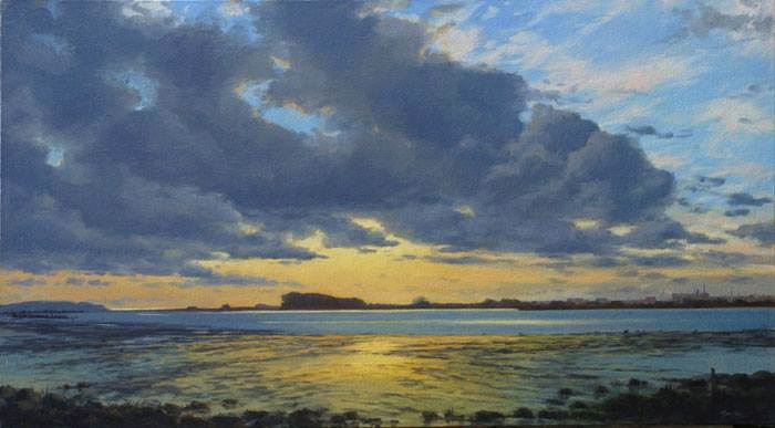 "Stock Schlueter | Humboldt Bay | oil on linen | 18"" x 32"""