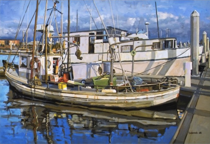 "Peter Holbrook | Troller under Repairs | oil on canvas | 18.5"" x 26.5"""