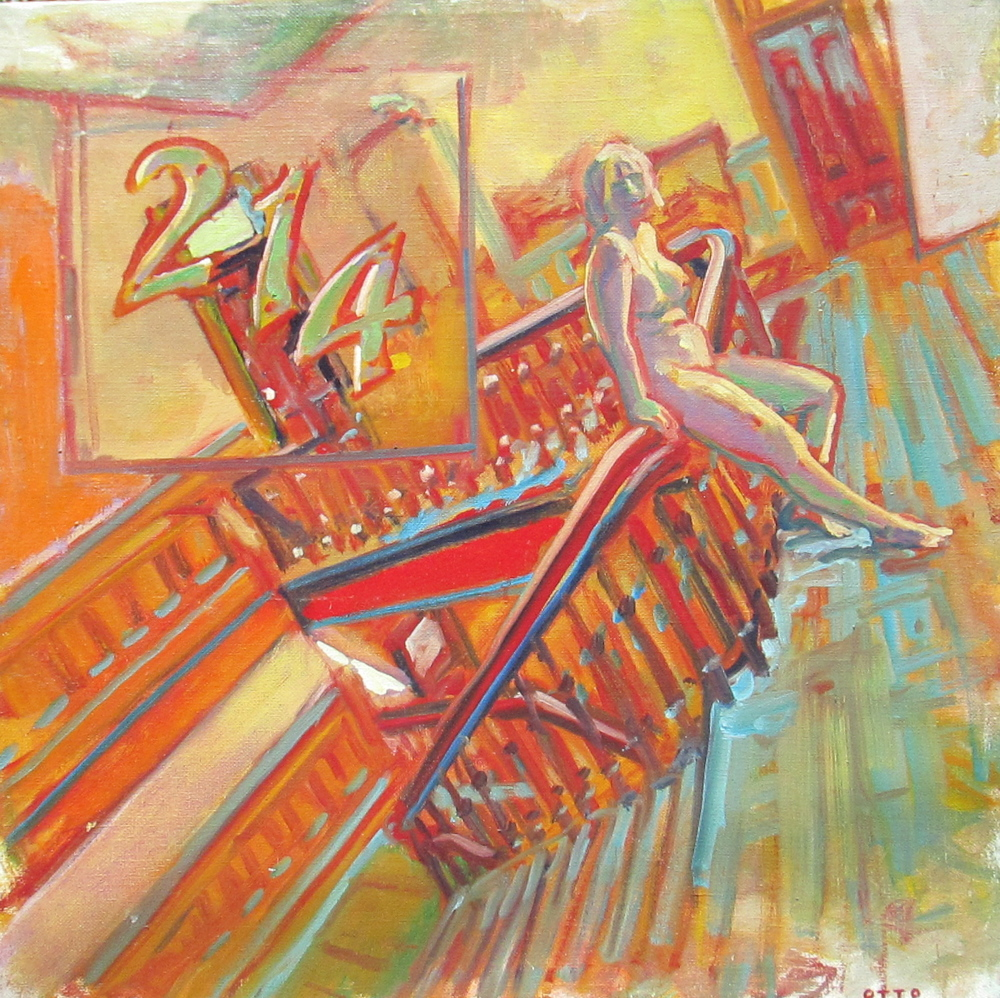 "Curtis Otto | Nude on Staircase | oil on canvas | 36"" x 36"""