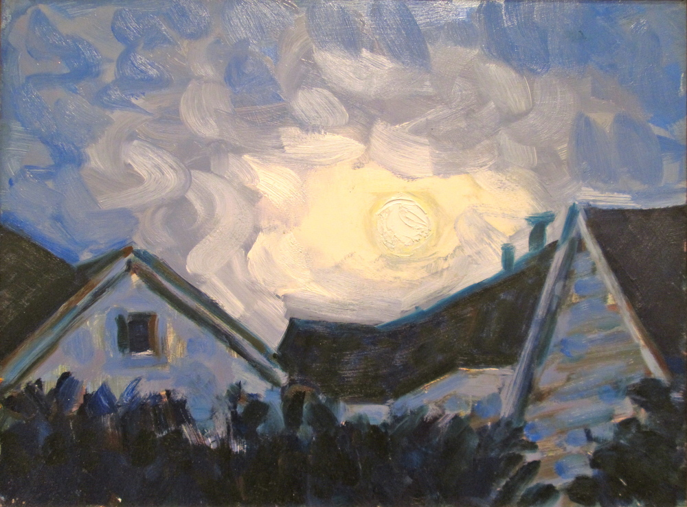 "Linda Mitchell | Blue Moon from Ninth Street | oil on panel | 9.75"" x 12.75"""