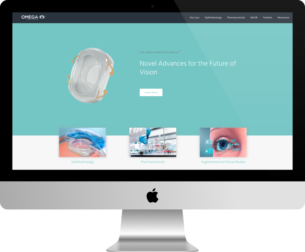 Homepage of Omega Ophthalmics website