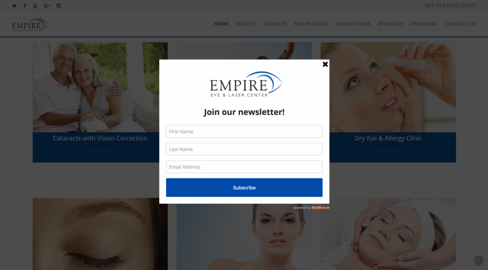 Newsletter signup form for Empire Eye and Laser
