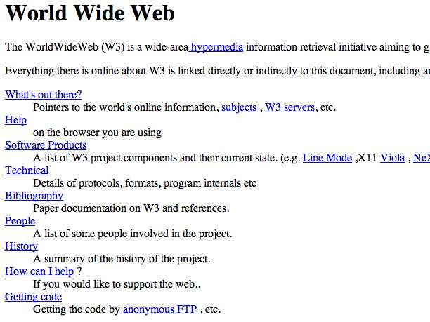 The world's first web page