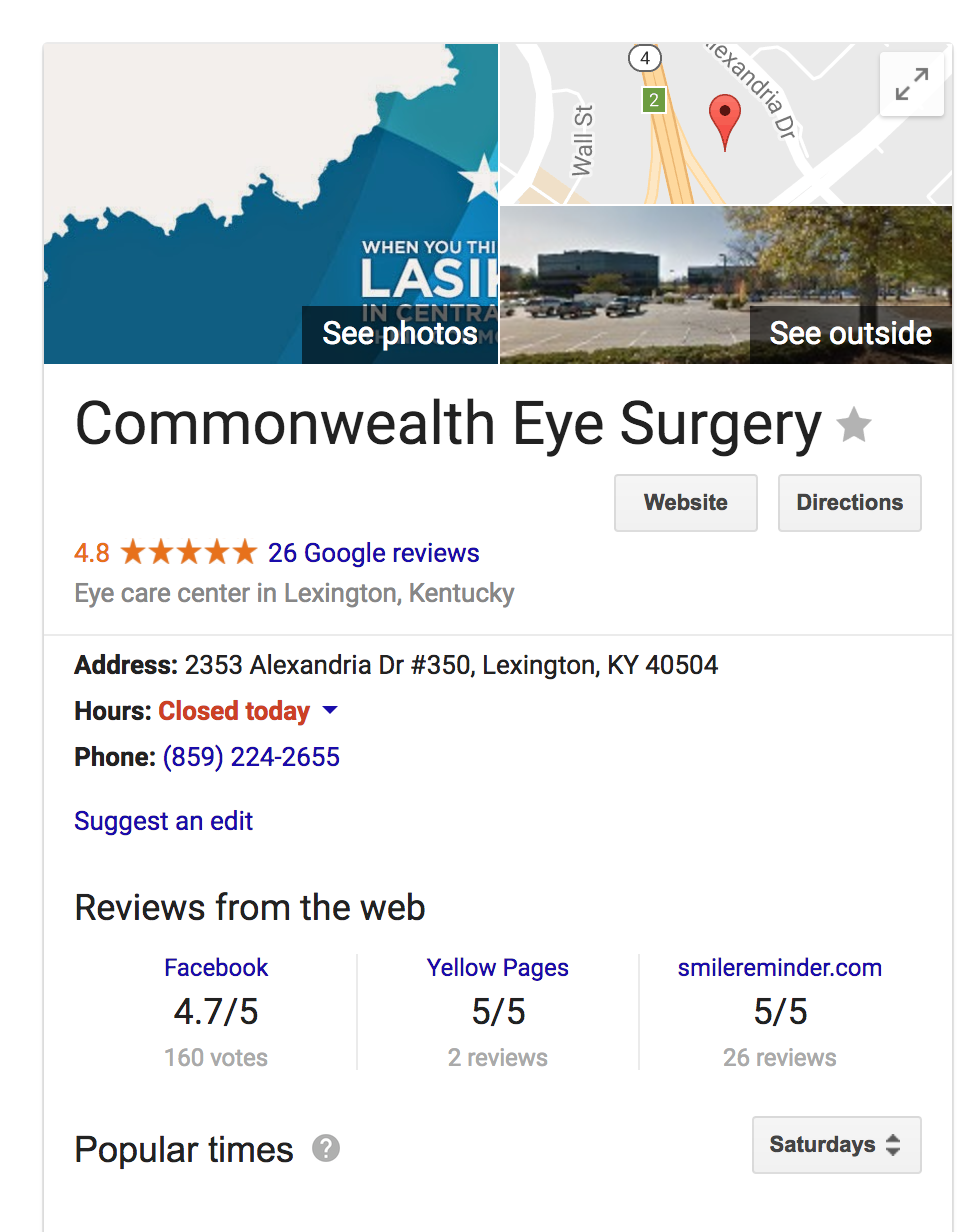 Google My Business Information for Commonwealth Eye Surgery