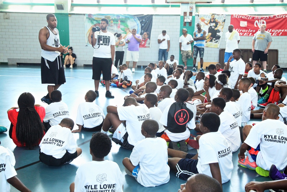 On August 16th, 2014, the Kyle Lowry Skills Clinic and Community Day returned to North Philadelphia's Hank Gathers Recreation Center for its second installment; this time with the added excitement of the inaugural Kyle Lowry's Rising Stars Challenge. A very big thank you to our volunteers, our sponsors FamJuice, Herr's, BodyArmour, Shoprite, Adidas and Shotloc, and most importantly, the community for welcoming us with open arms. Check out the photos from the day HERE and the recap below.