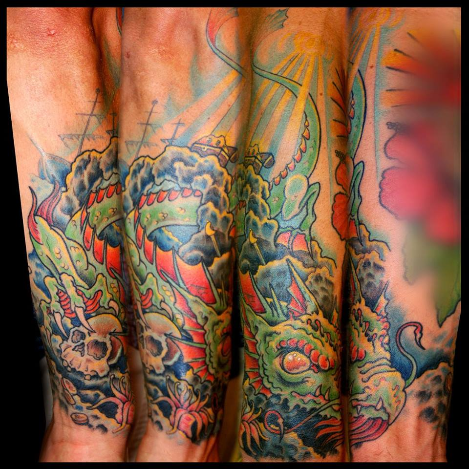 Matt south seas tattoo for Sea dragon tattoo
