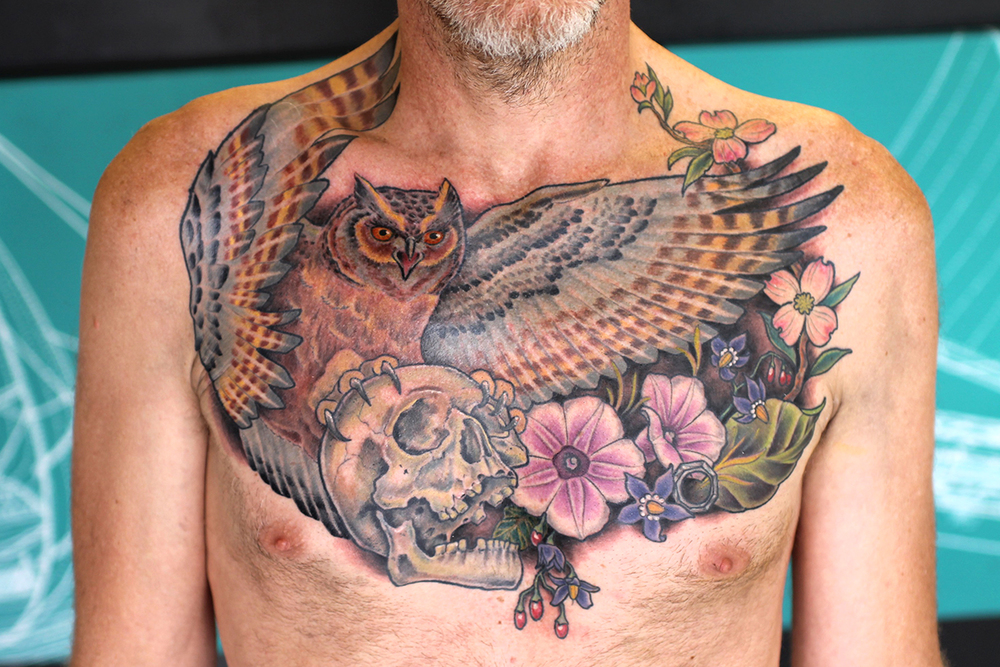 Owl & Skull Chest Piece