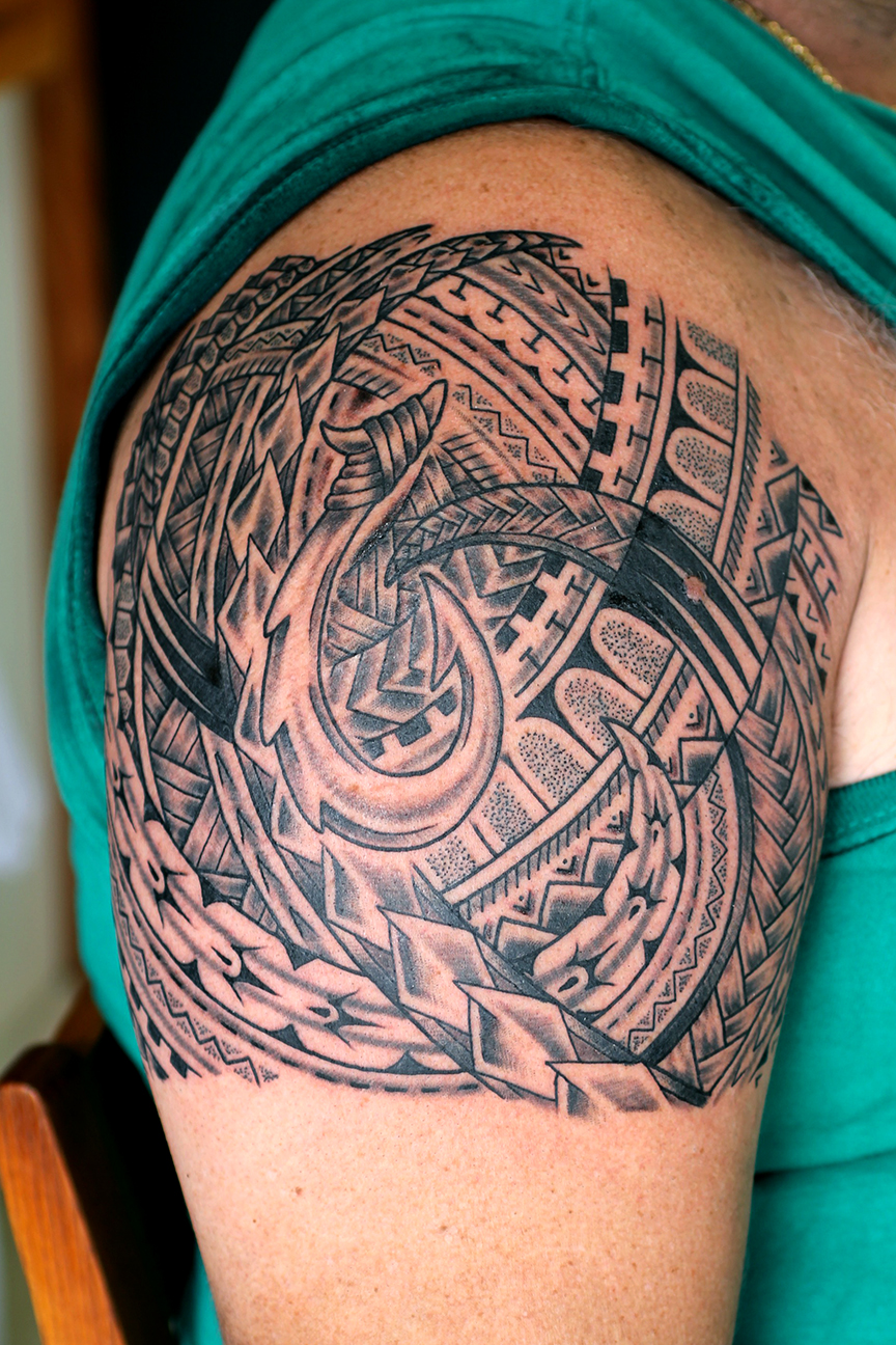 Polynesian Half Sleeve with Fishhook