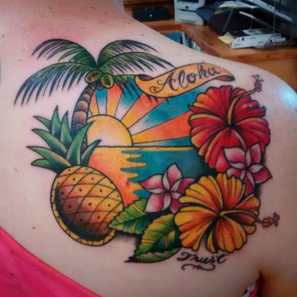 Aloha tropical scene
