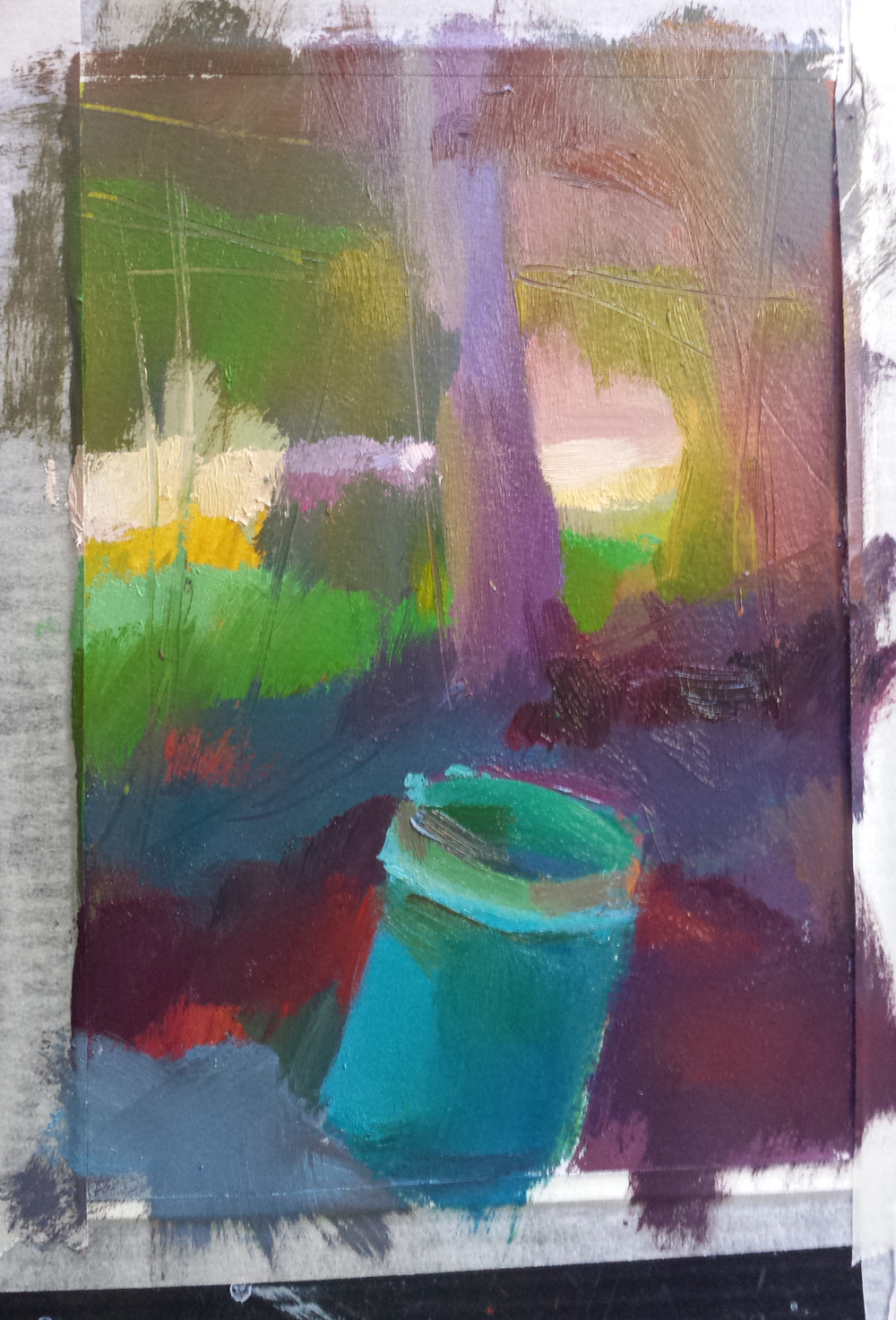 another green bucket exercise with oil