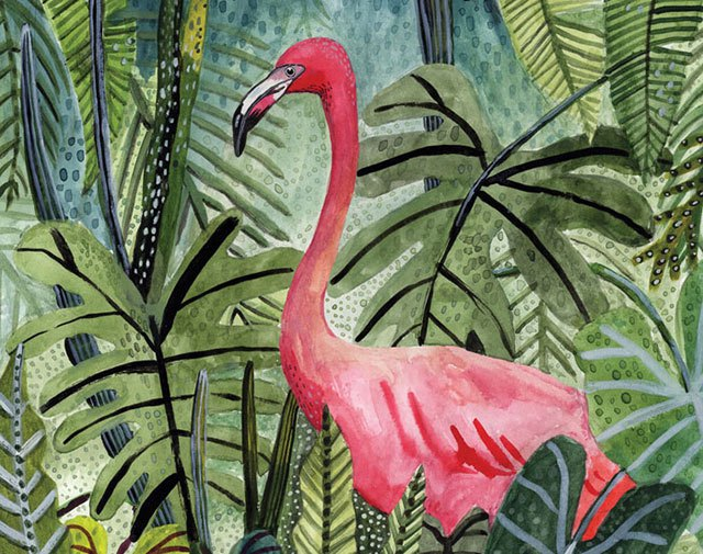 Amelia Herbertson, Flamingo, 2015, watercolour and gouache on paper.