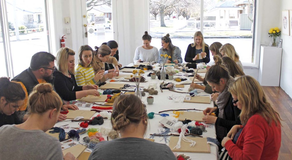 Woven Wall Hanging Workshop, The Corner Store Gallery, Orange NSW, creative workshop, photograph by Madeline Young