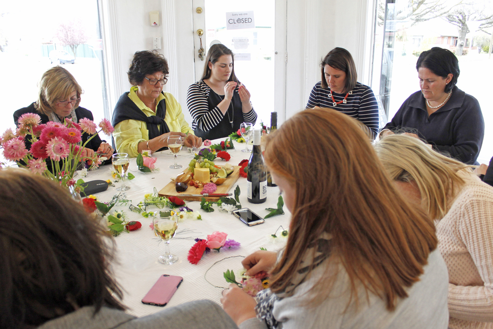 Spring Hens Party, Flower Crowns Crafternoon, The Corner Store Gallery, Orange NSW, creative workshops, photograph by Madeline Young