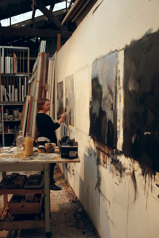 Nicole Chaffey working on oil paintings for her masters, 2014.