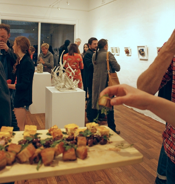 Canapes provided by The Corner Store Gallery's in-house chef Erick Holborow for the opening night of Cooked Books by Curtis Peasley.