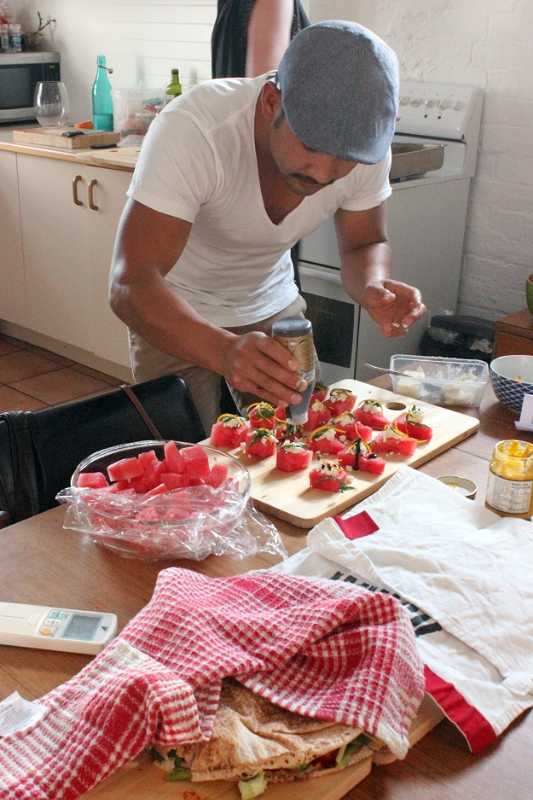 Summer canapes provided by The Corner Store Gallery's in-house chef Erick Holborow, December 2014.