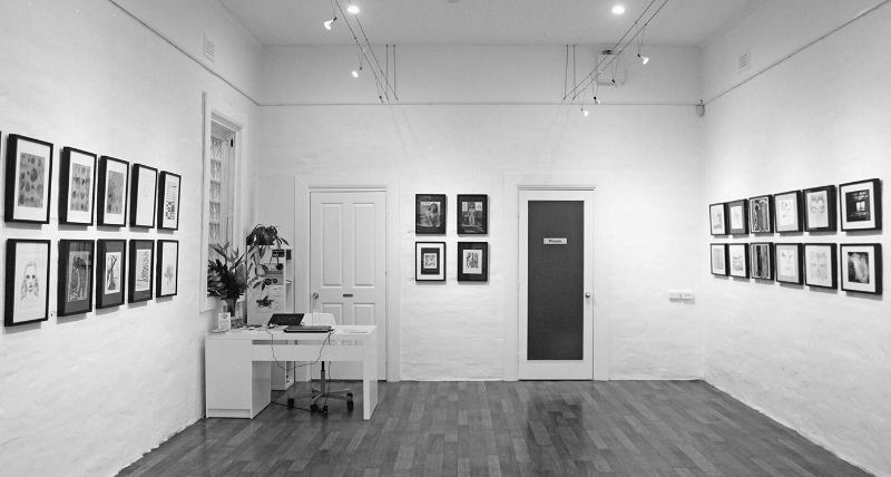 Works on Paper  - Group Exhibition, July 2015, The Corner Store Gallery, Orange NSW, photograph by Madeline Young