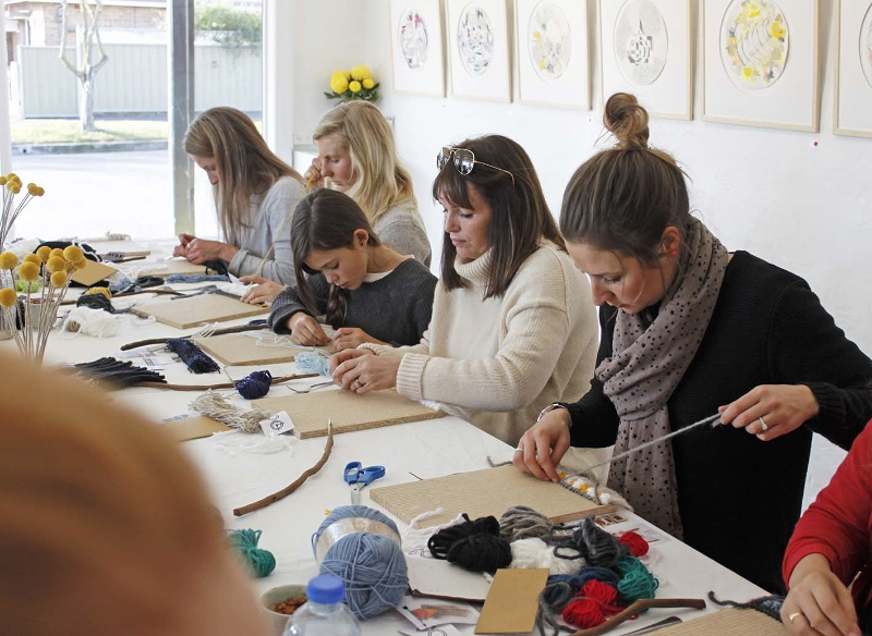 DIY Woven Wall Hanging Workshop in July 2015, taught by Madeline Young