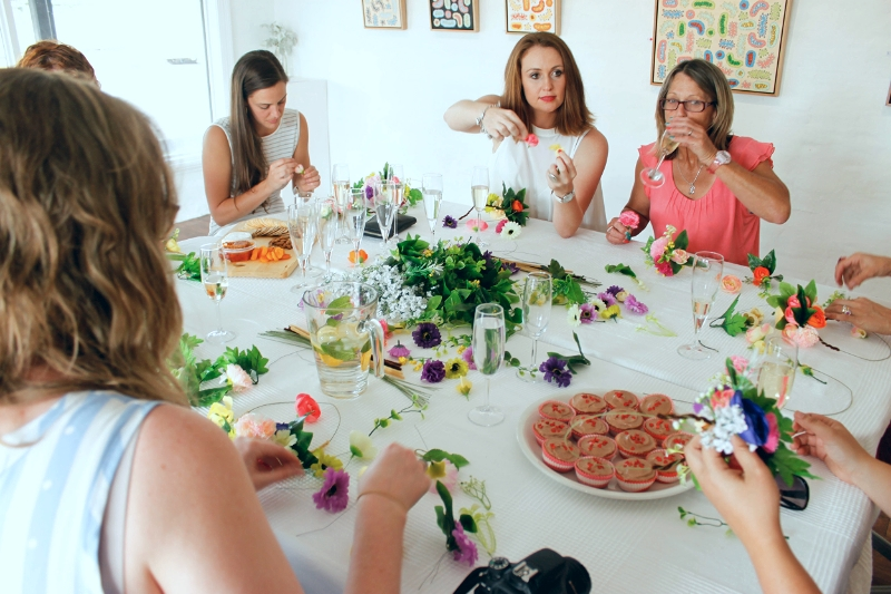 "Hens ""crafternoon"" party - flower crowns, The Corner Store Gallery"
