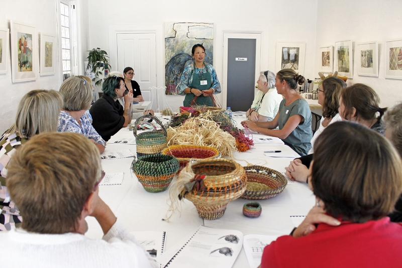 Basket Weaving Workshop - The Corner Store Gallery, Orange NSW, photograph by Madeline Young