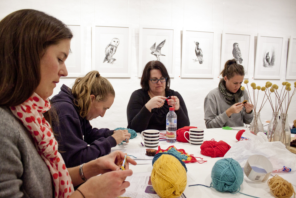 Beginners Crochet Workshop - The Corner Store Gallery, Orange NSW, photograph by Madeline Young