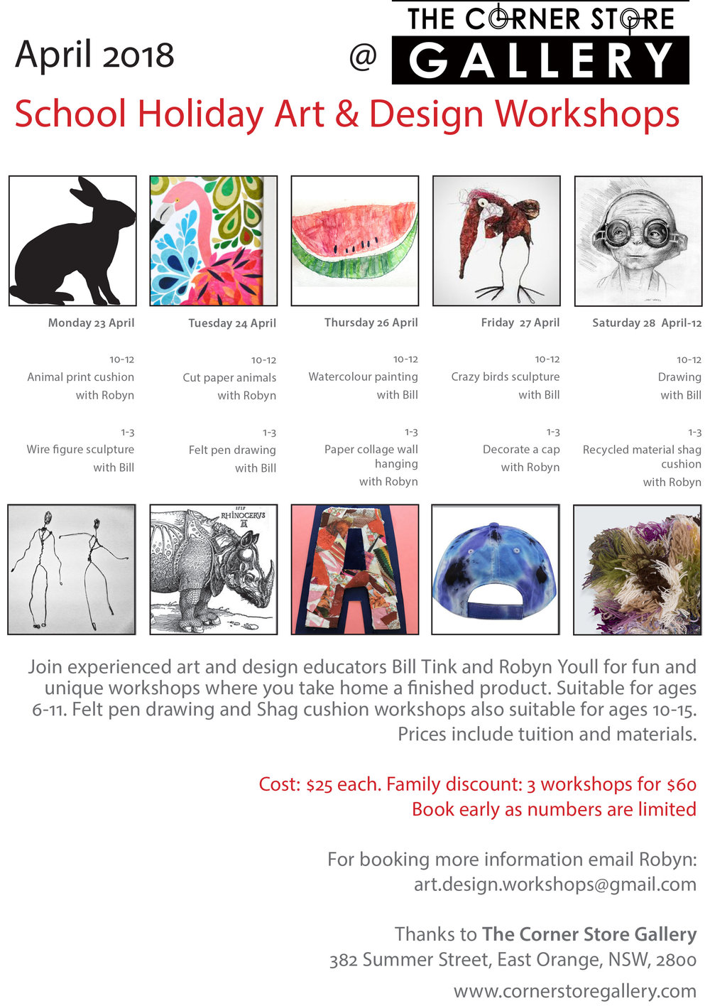 The Corner Store Gallery - School Holiday Workshops