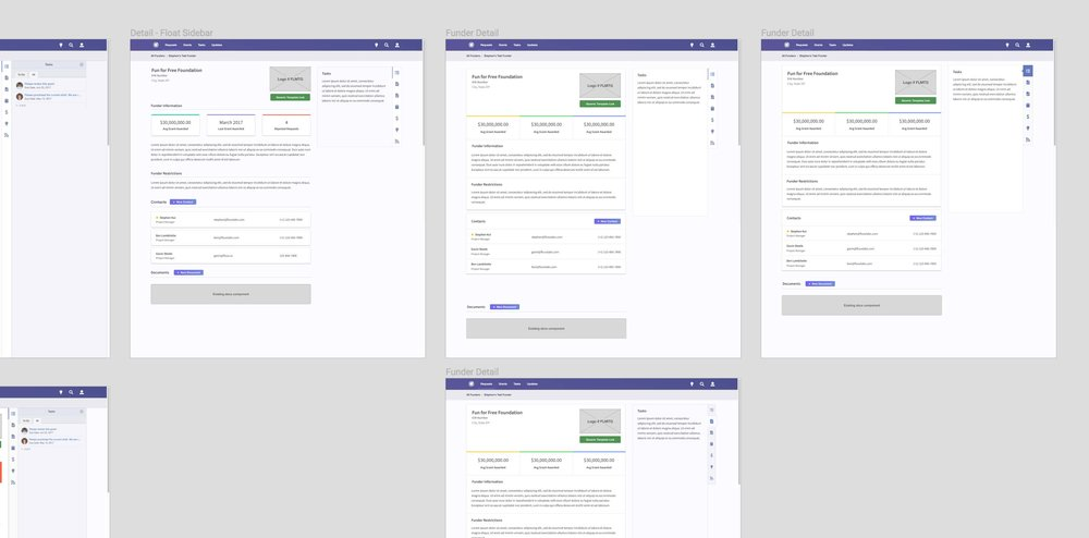 Very rough experimentation on the sidebar tabs alongside early concepts of the Funder Management UI changes.
